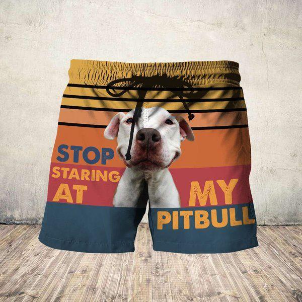 Stop staring at my pitbull hawaiian shorts 1