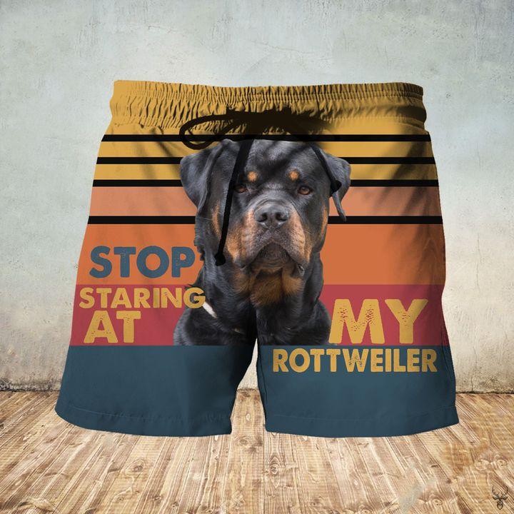 Stop staring at my rottweiler hawaiian shorts 1