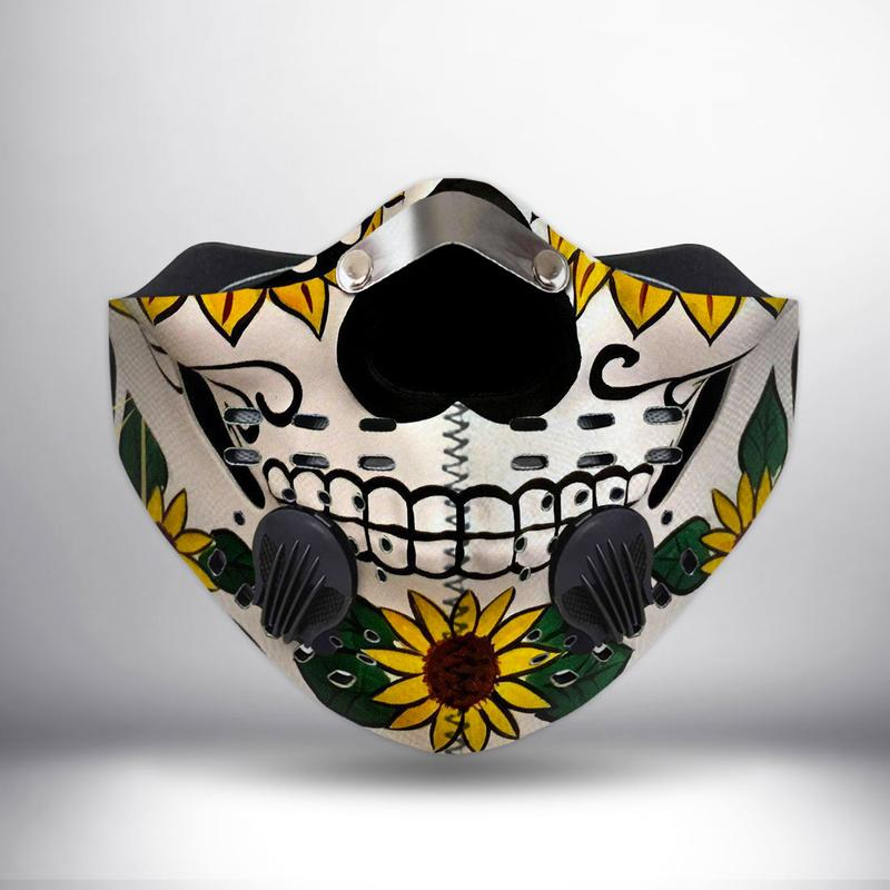 Sugar skull and sunflower filter activated carbon face mask 1