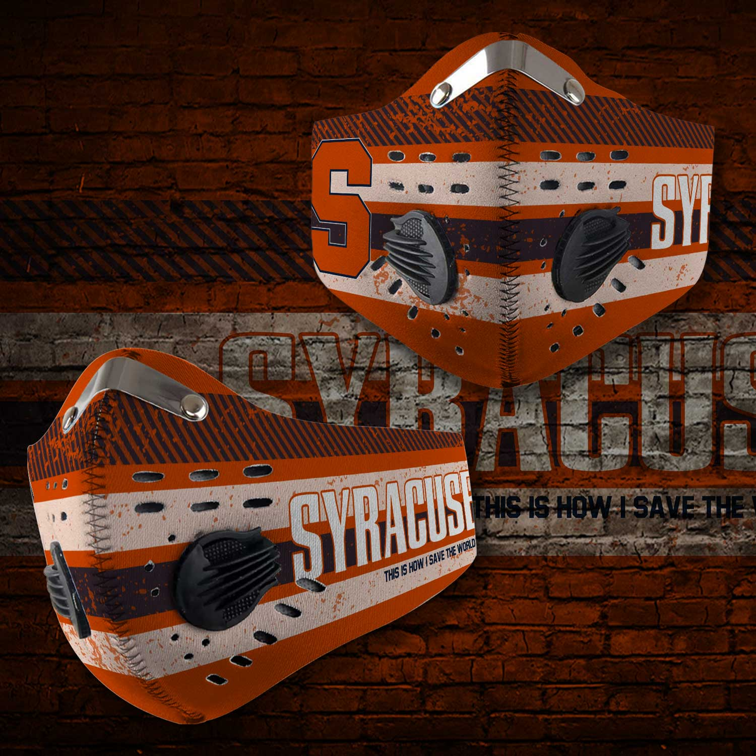 Syracuse orange this is how i save the world carbon filter face mask 1