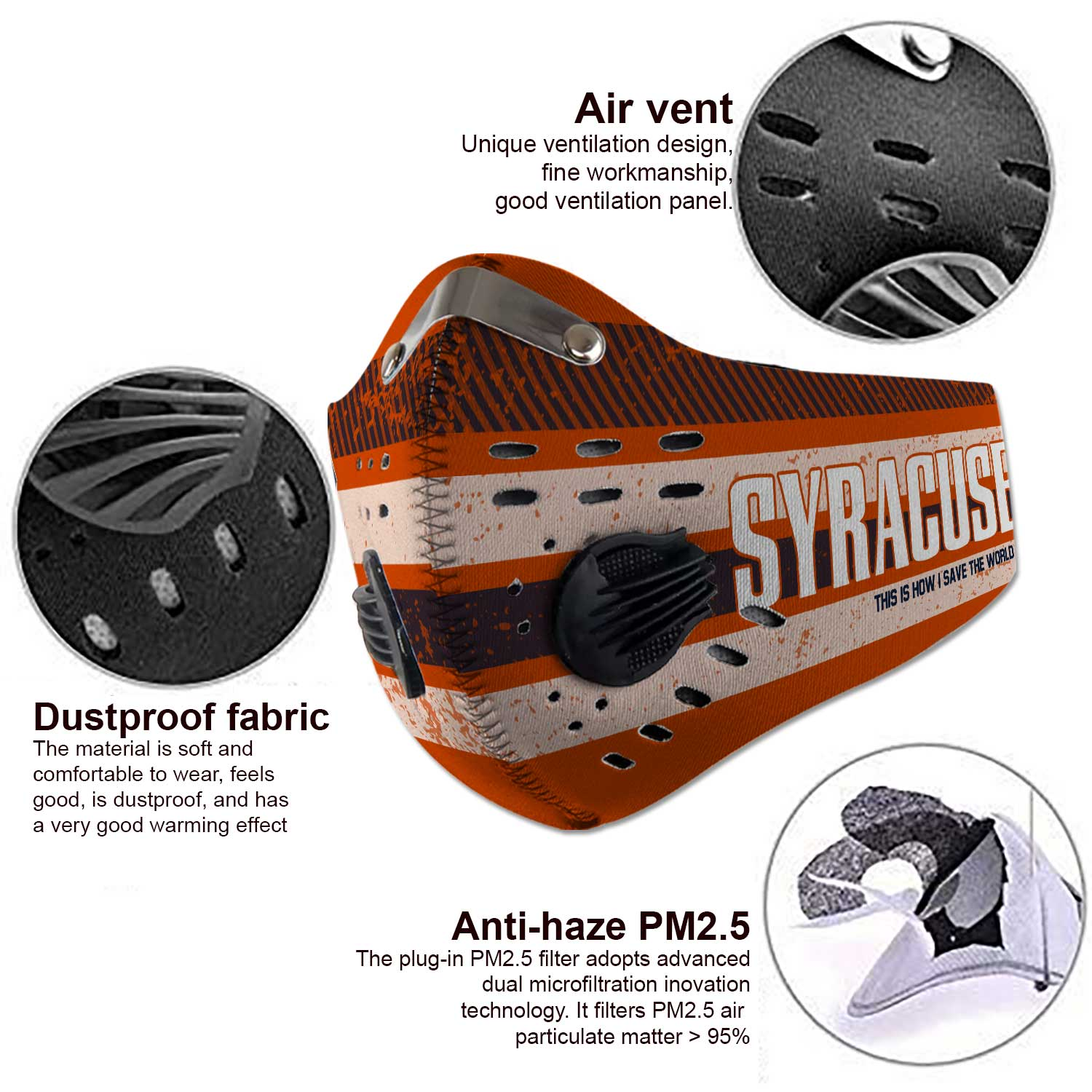 Syracuse orange this is how i save the world carbon filter face mask 3
