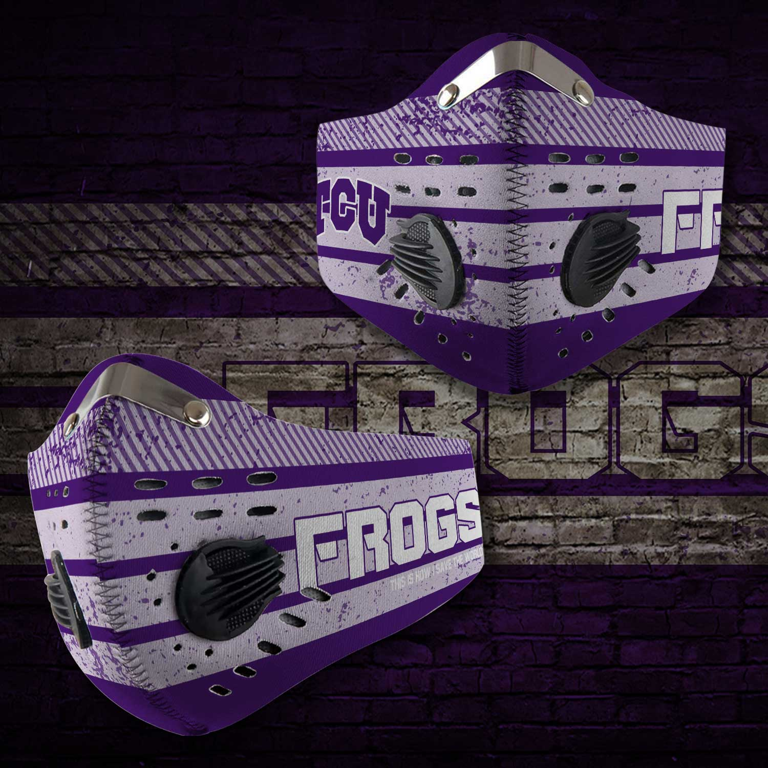 TCU horned frogs football this is how i save the world face mask 1