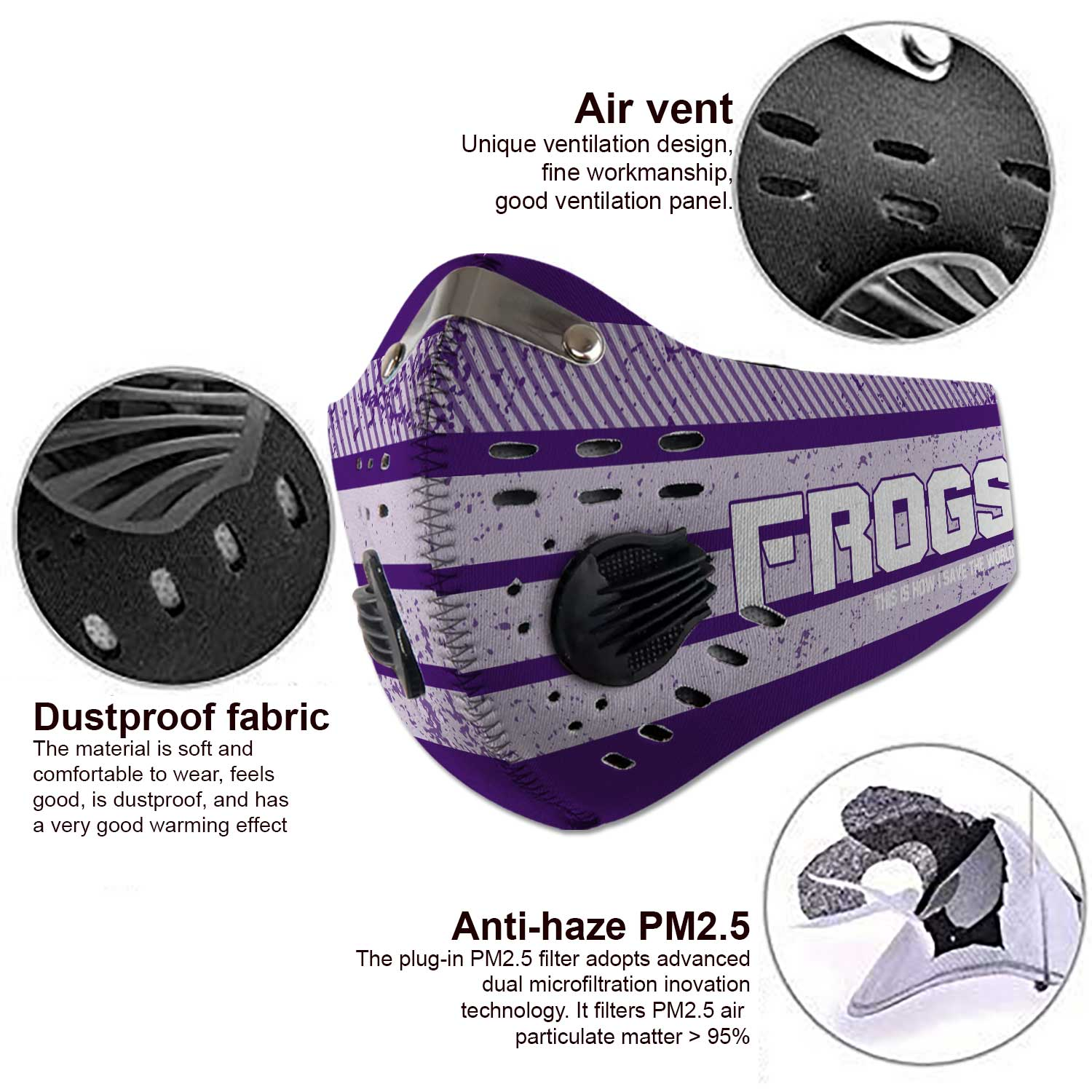 TCU horned frogs football this is how i save the world face mask 3