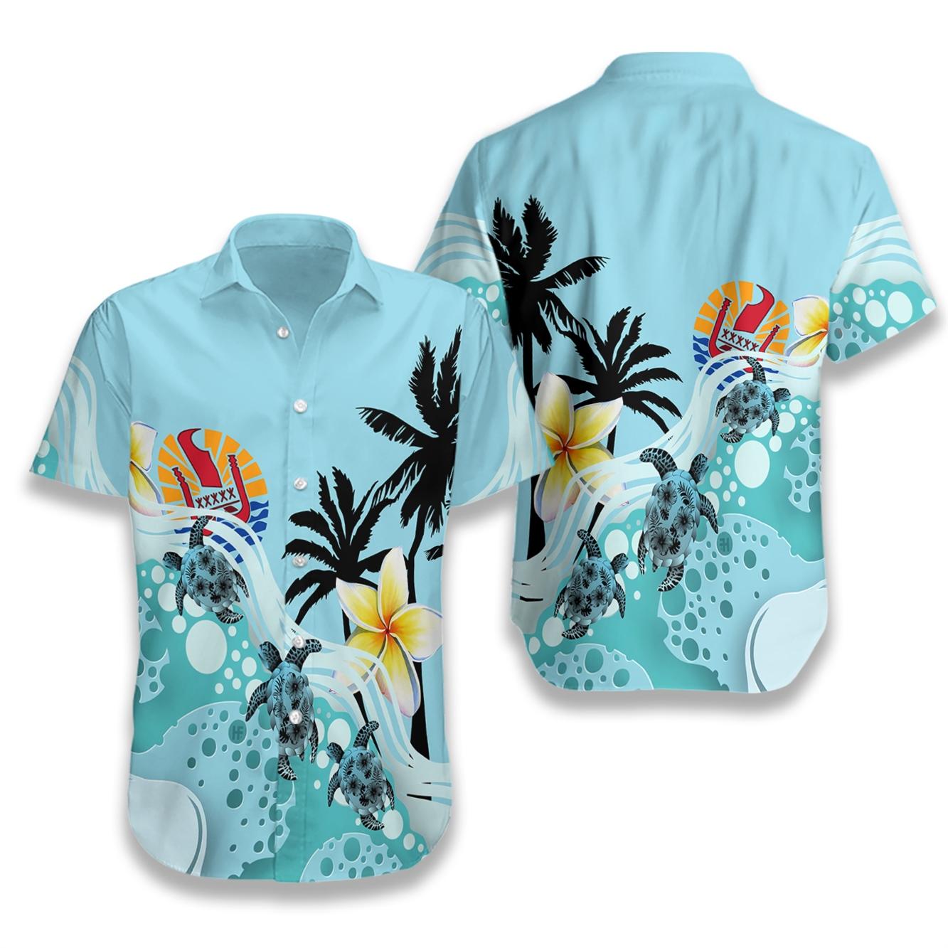 Tahiti blue turtle hibiscus hawaiian shirt 1