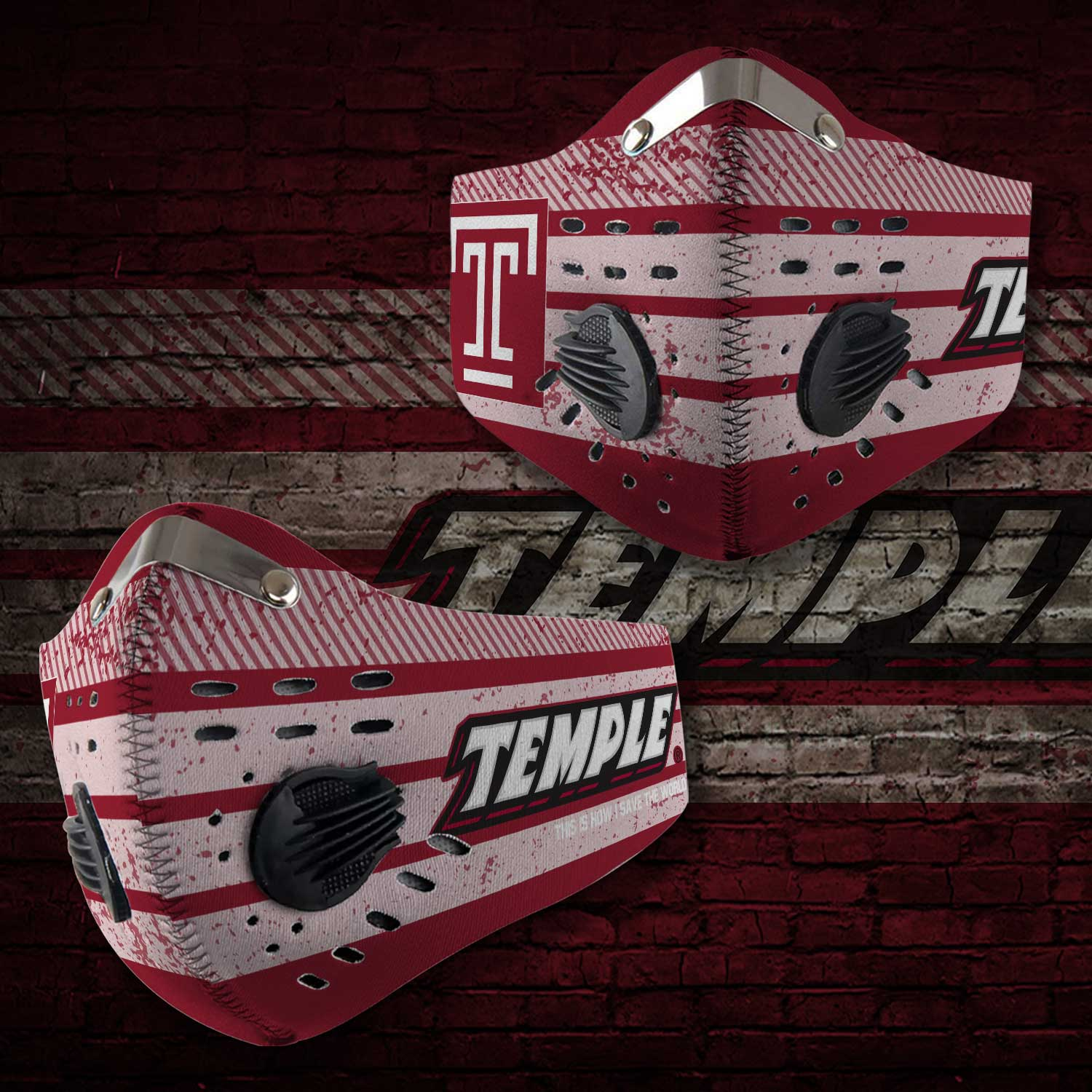 Temple owls this is how i save the world carbon filter face mask 1