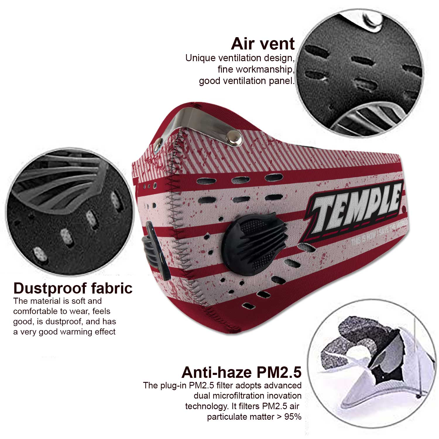 Temple owls this is how i save the world carbon filter face mask 3