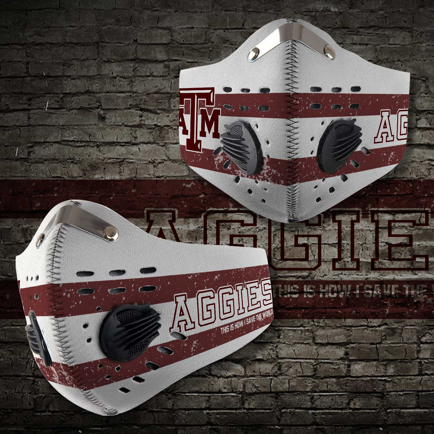 Texas am aggies football this is how i save the world face mask 2
