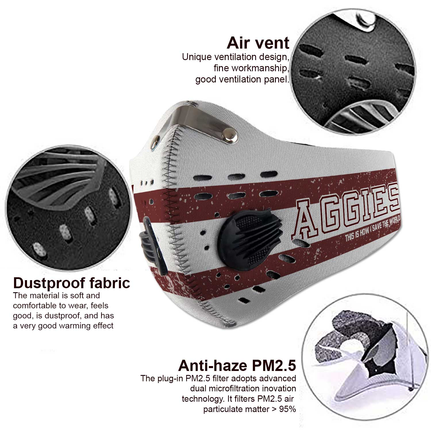 Texas am aggies football this is how i save the world face mask 3