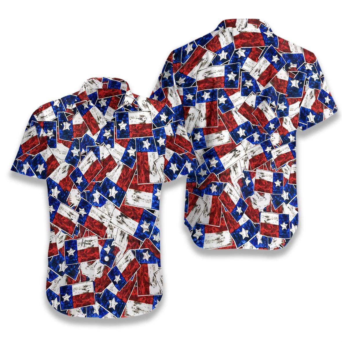Texas flag pattern hawaiian shirt 2