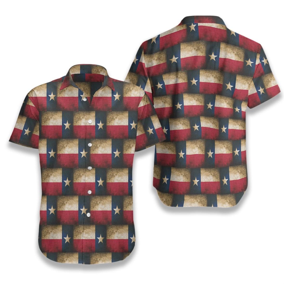 Texas pattern flag hawaiian shirt 1