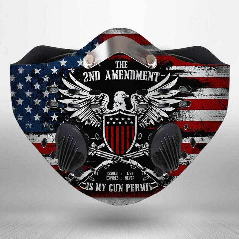 The second amendment american flag filter activated carbon face mask 1