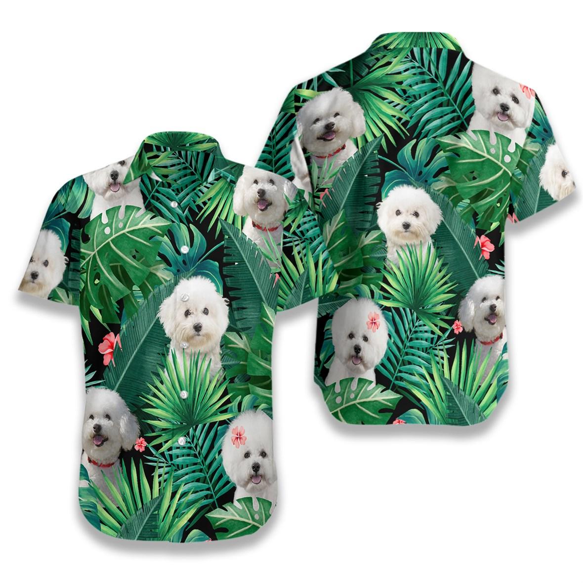 Tropical bichon frise hawaiian shirt 4