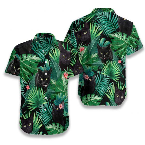 Tropical black cat hawaiian shirt 1