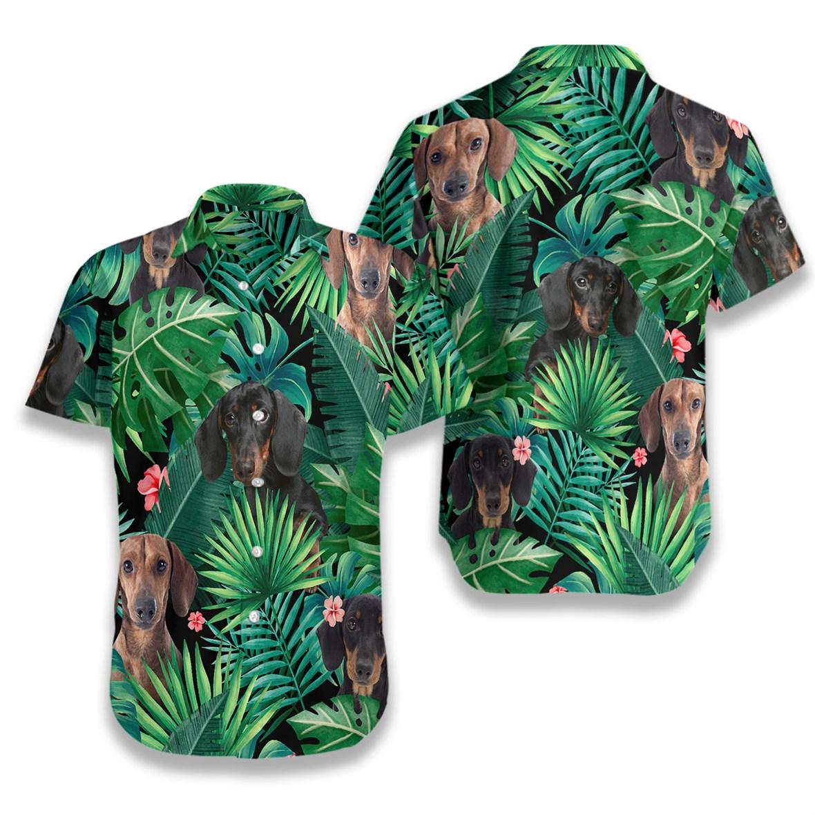 Tropical dachshund hawaiian shirt 3
