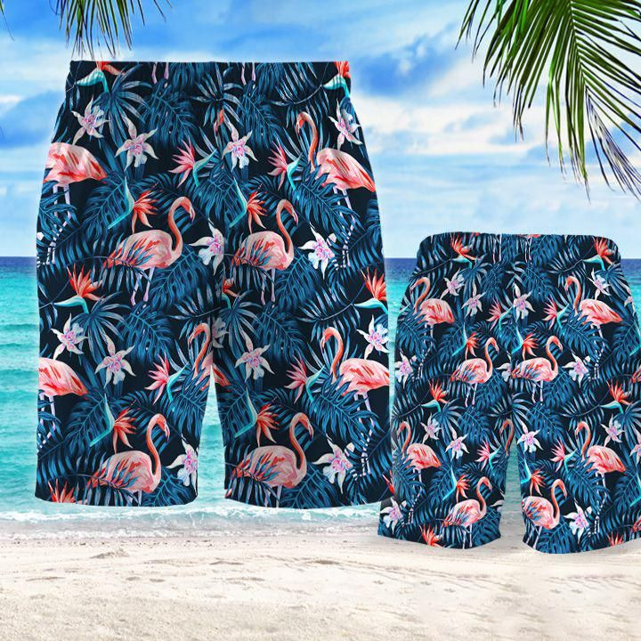 Tropical flamingo hawaiian shorts 1