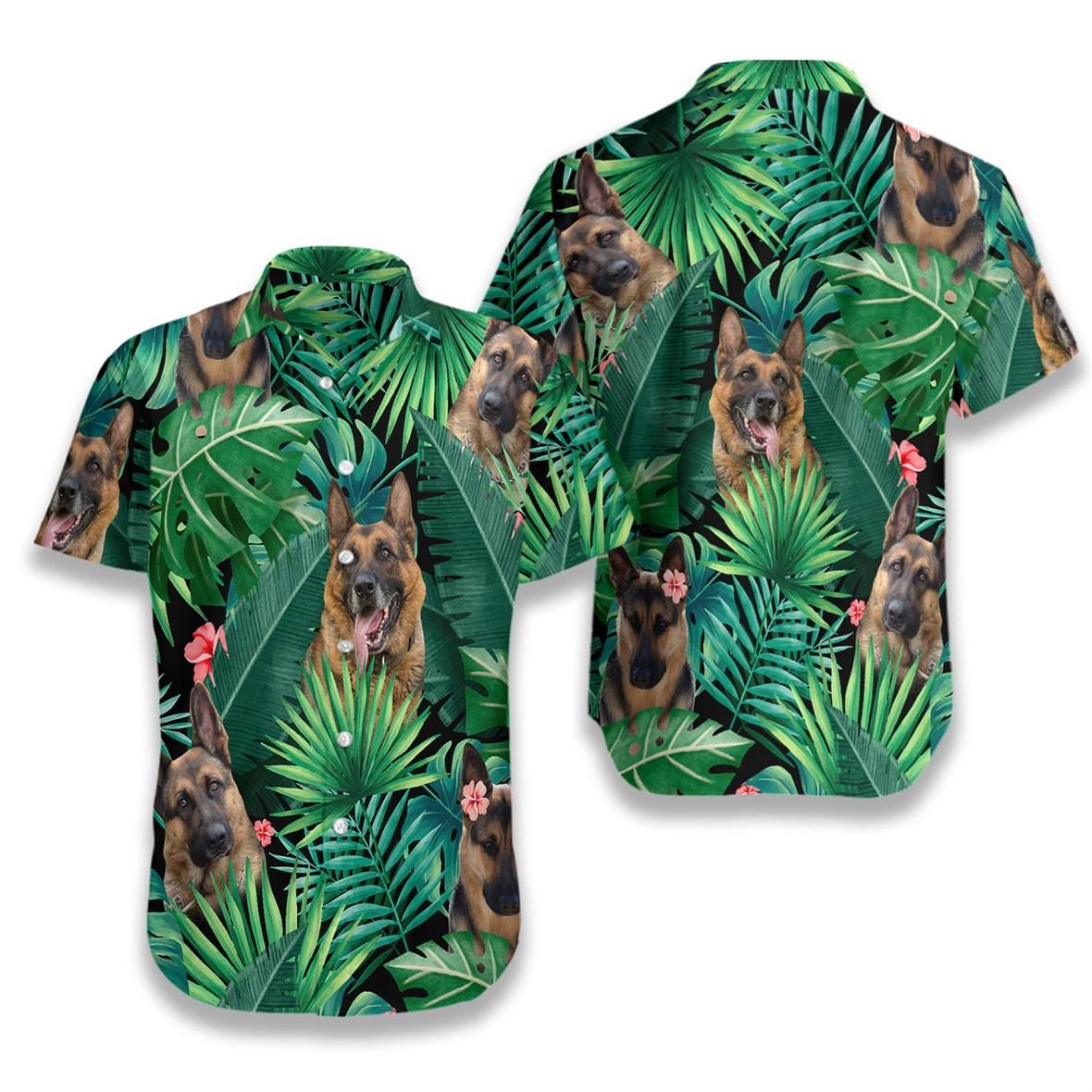 Tropical german shepherd hawaiian shirt 1
