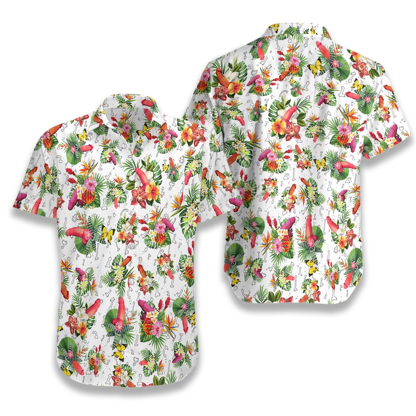 Tropical penis pattern hawaiian shirt 4