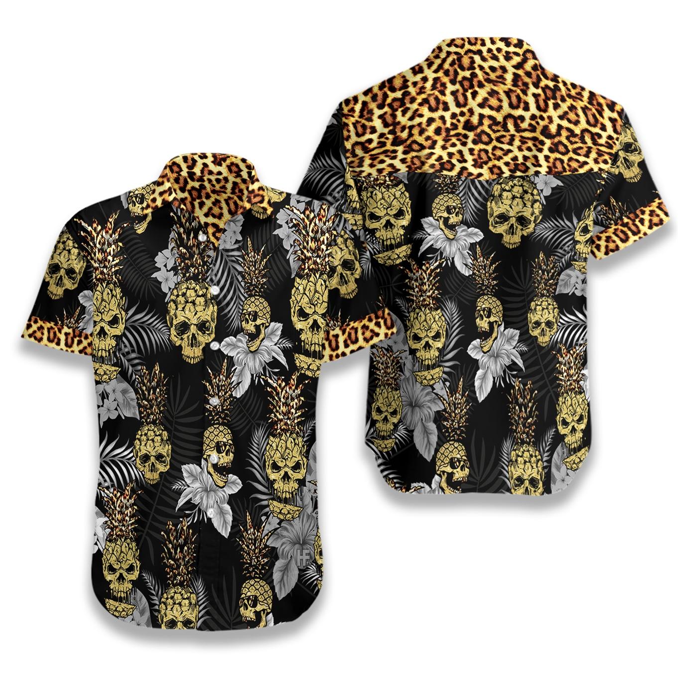 Tropical pine apple skull leopard hawaiian shirt 1
