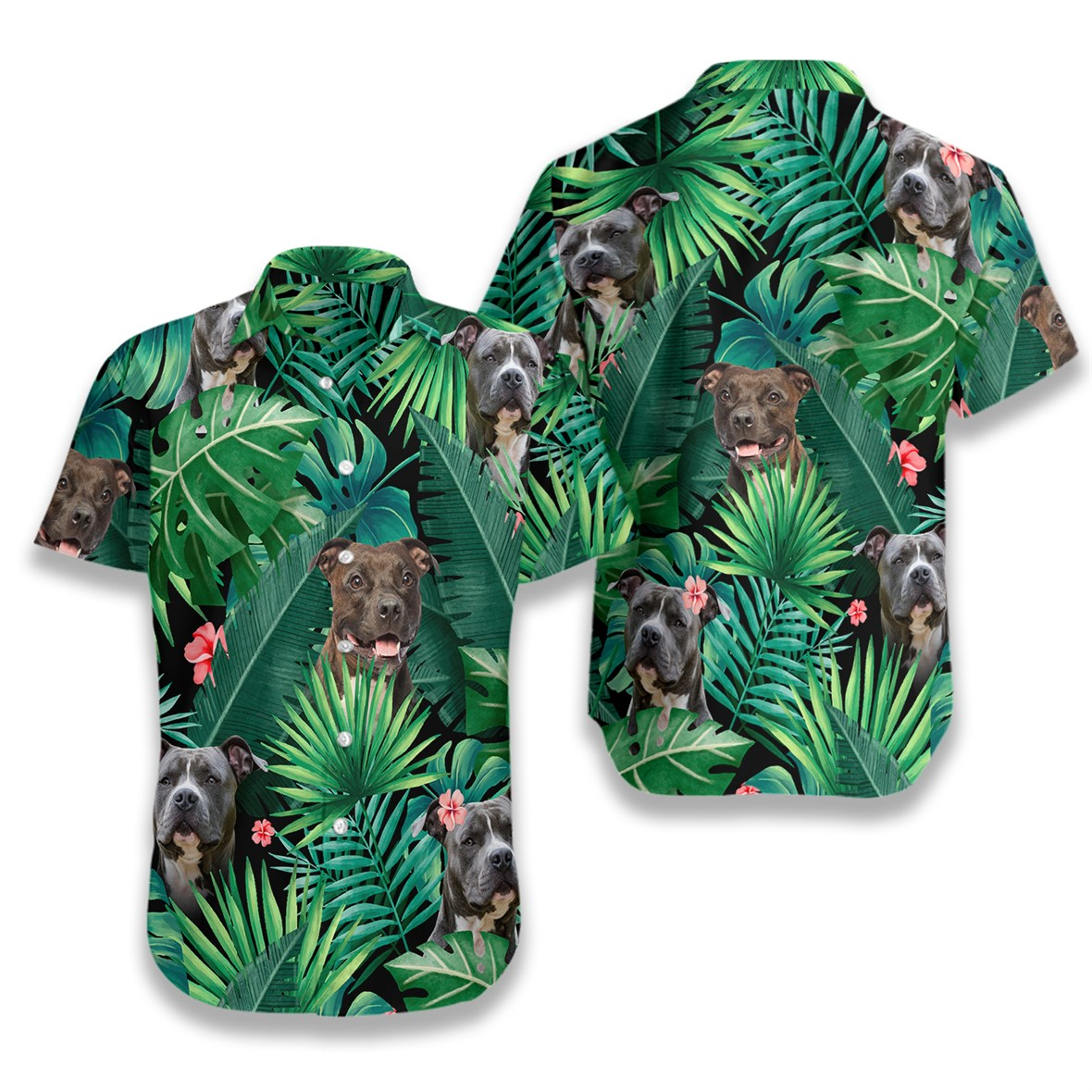 Tropical pitbull hawaiian shirt 1