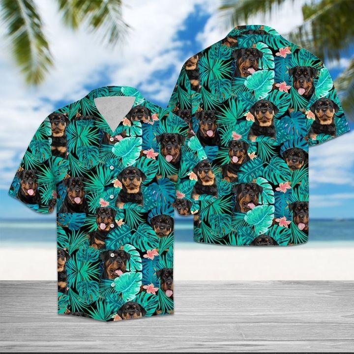 Tropical rottweiler dog hawaiian shirt 1