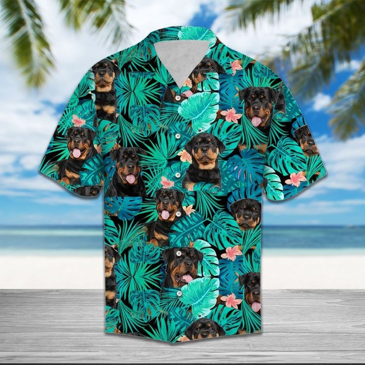 Tropical rottweiler dog hawaiian shirt 4