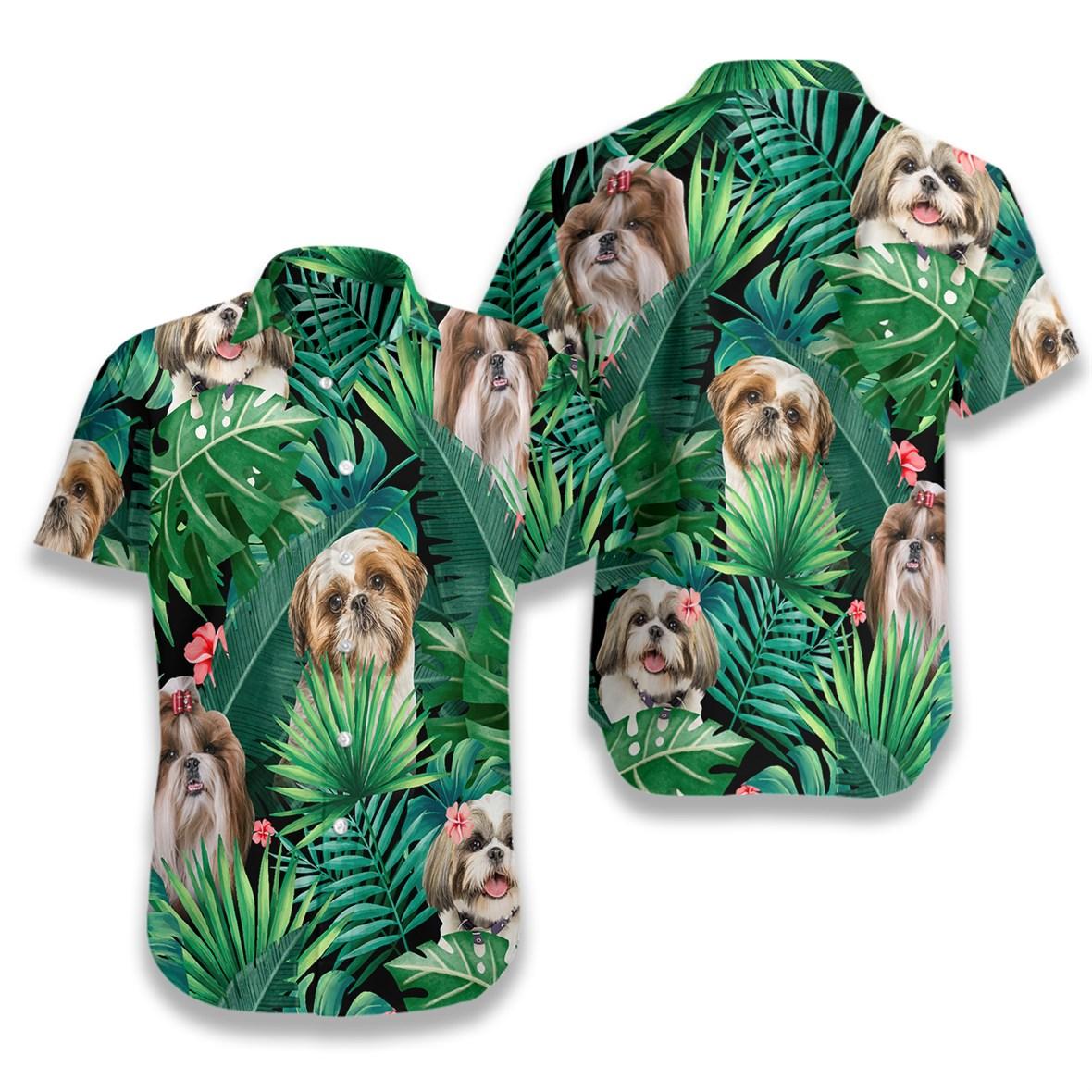 Tropical shih tzu hawaiian shirt 1