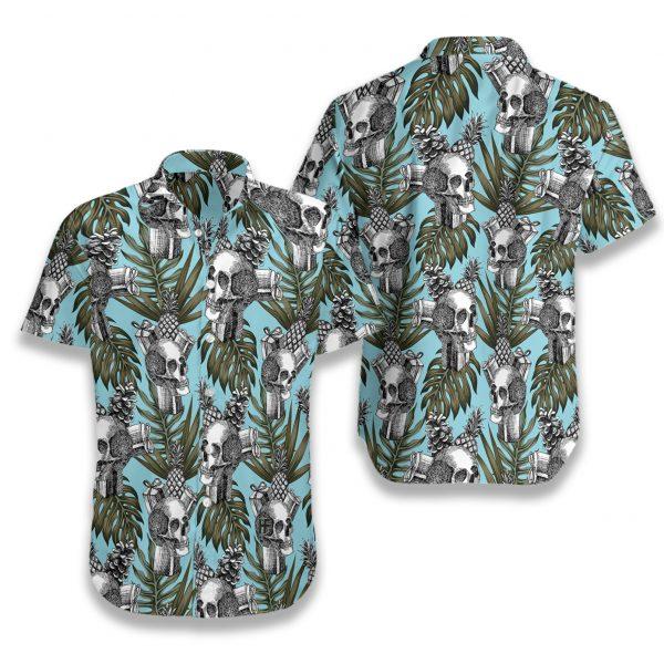 Tropical skull gift pine apple cone hawaiian shirt 2