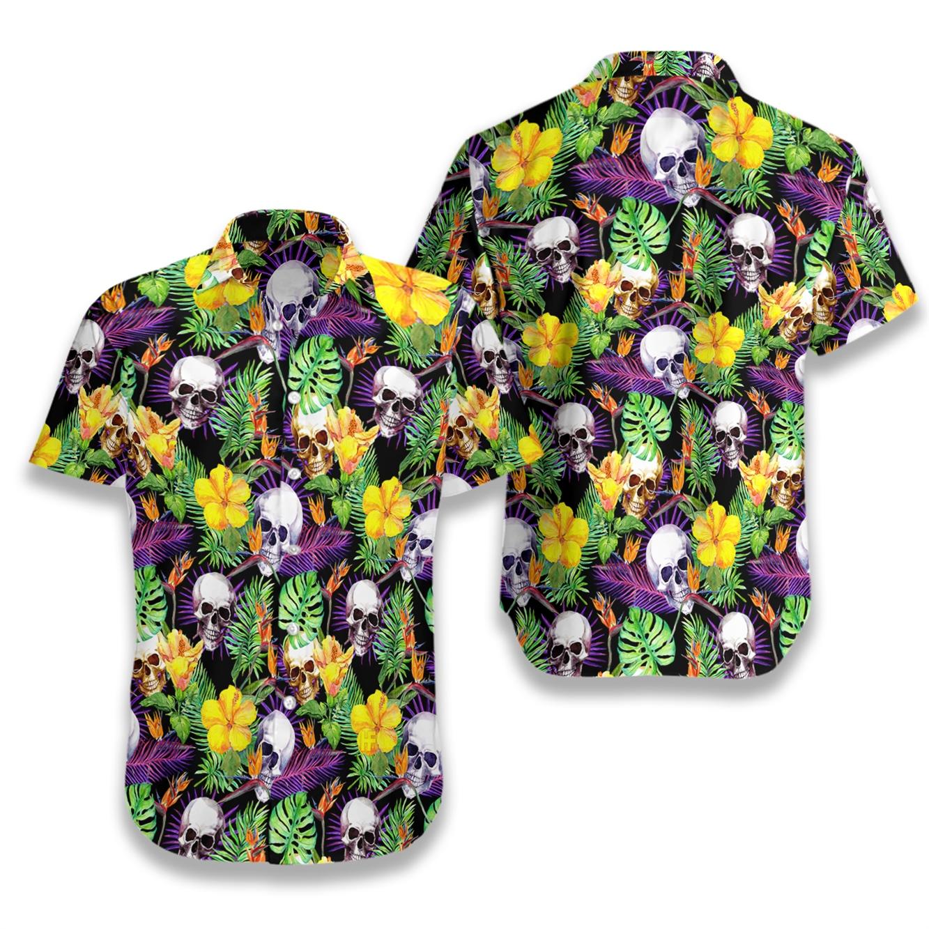 Tropical skull pattern hawaiian shirt 1