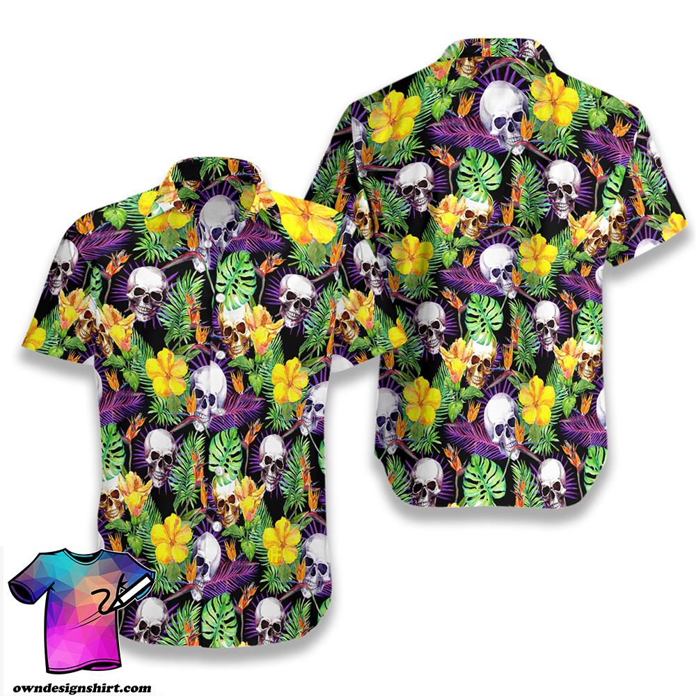Tropical skull pattern hawaiian shirt
