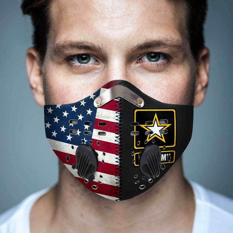 US army american flag alone filter activated carbon face mask 3
