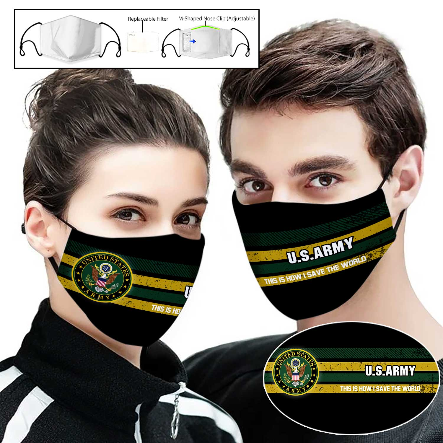 US army this is how i save the world full printing face mask 2