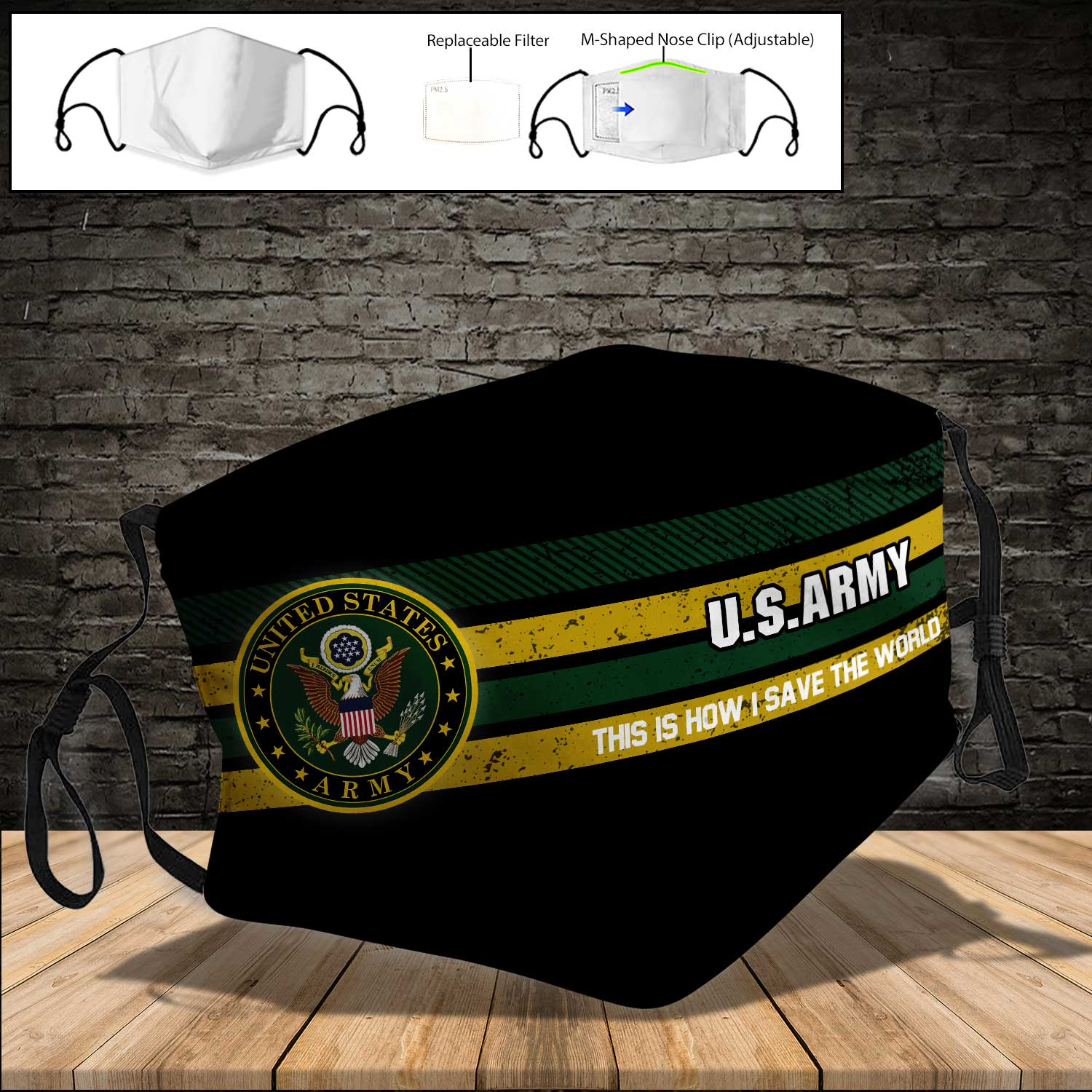 US army this is how i save the world full printing face mask 3