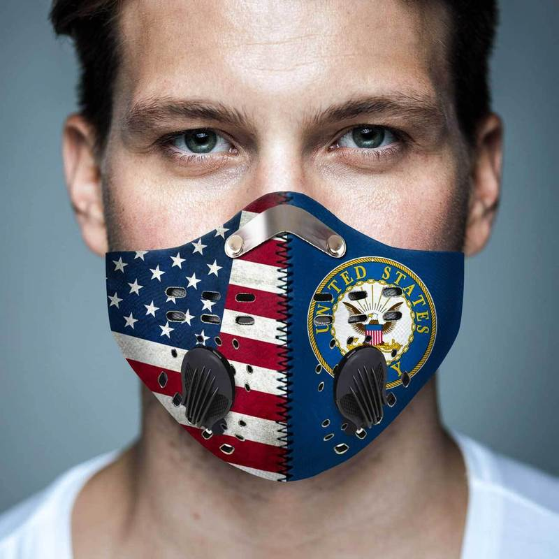 United states navy american flag filter activated carbon face mask 2