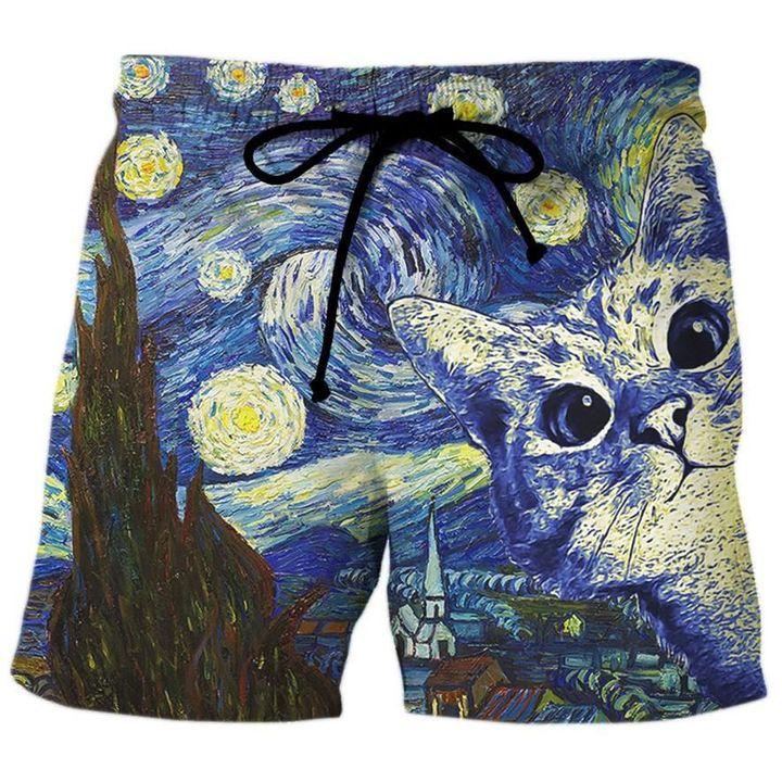 Vincent van gogh the starry night cat hawaiian shorts 3