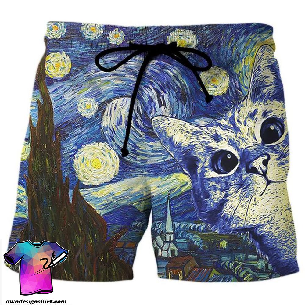Vincent van gogh the starry night cat hawaiian shorts