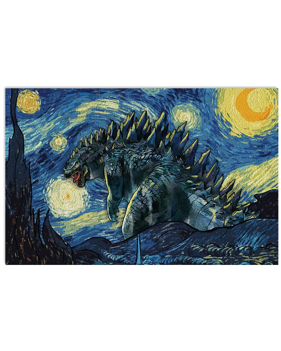 Vincent van gogh the starry night godzilla poster 1