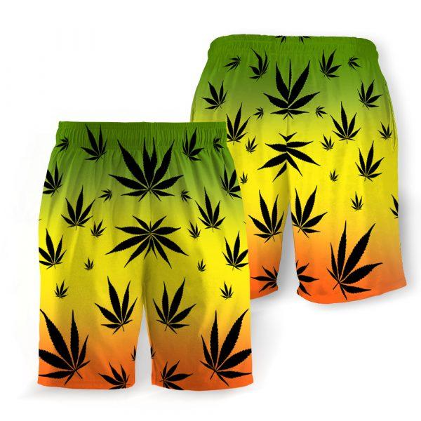 Weed leaf cannabis hawaiian shorts 2