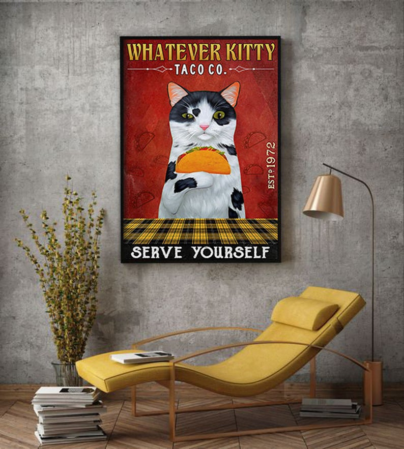 Whatever kitty serve yourself taco co vintage poster 2