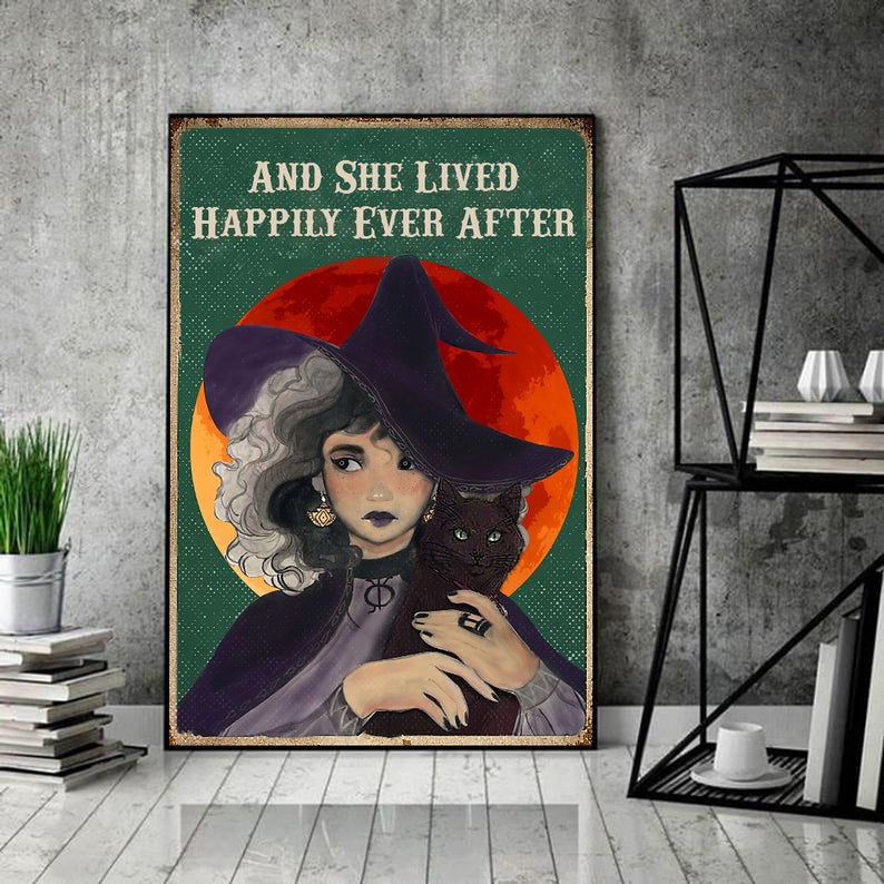 Witch and she lived happily ever after black cat vintage poster 1