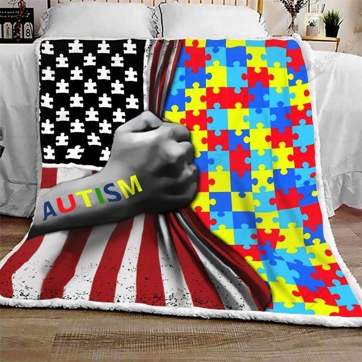 Amarican flag autism awareness full printing blanket 1
