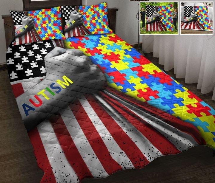 Amarican flag autism awareness full printing quilt 1