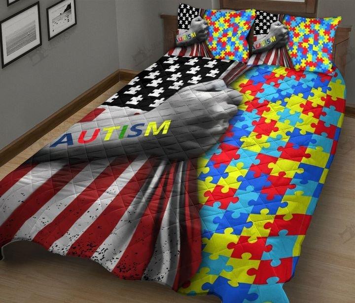 Amarican flag autism awareness full printing quilt 2