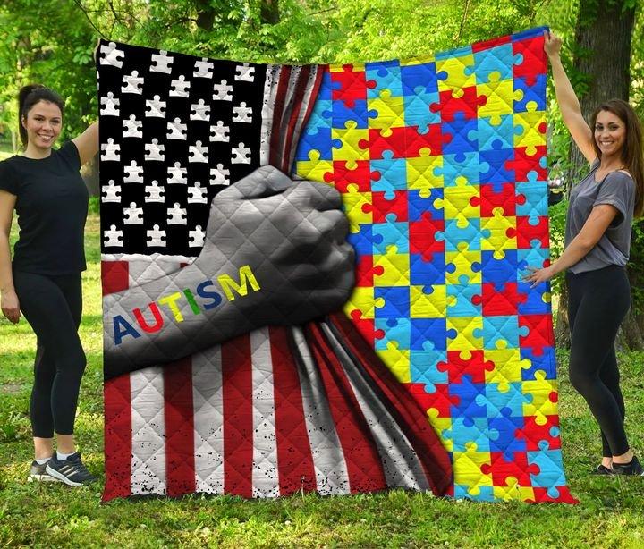 Amarican flag autism awareness full printing quilt 4