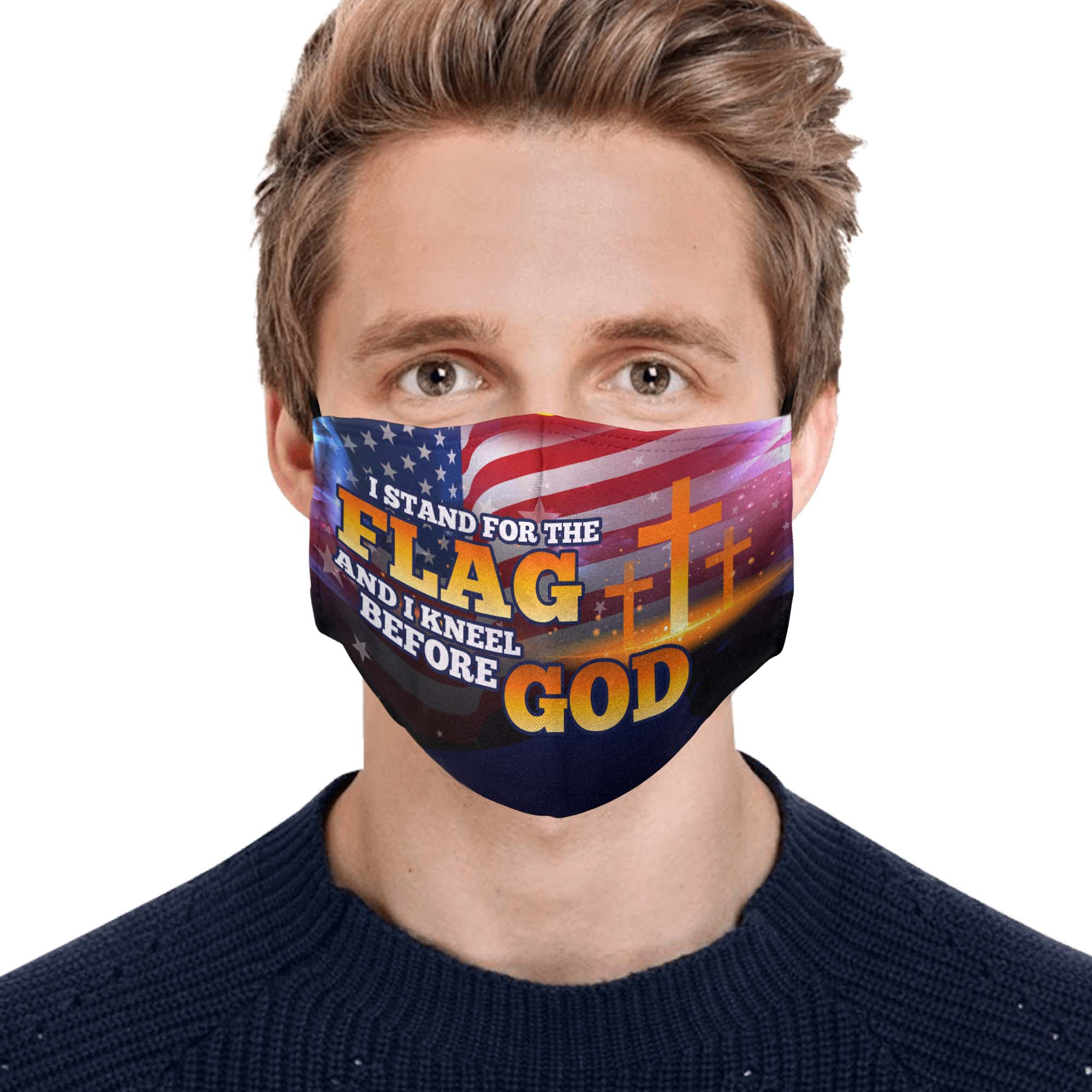 American flag i stand for the flag and i kneel before God face mask 1