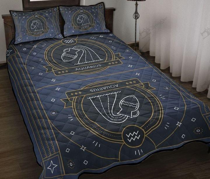 Aquarius zodiac symbol full printing quilt 1
