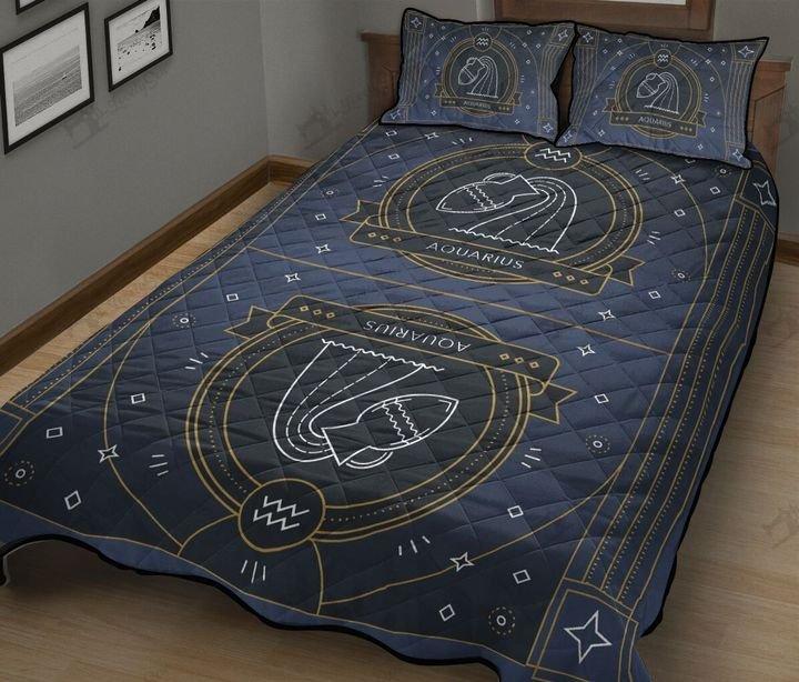 Aquarius zodiac symbol full printing quilt 4