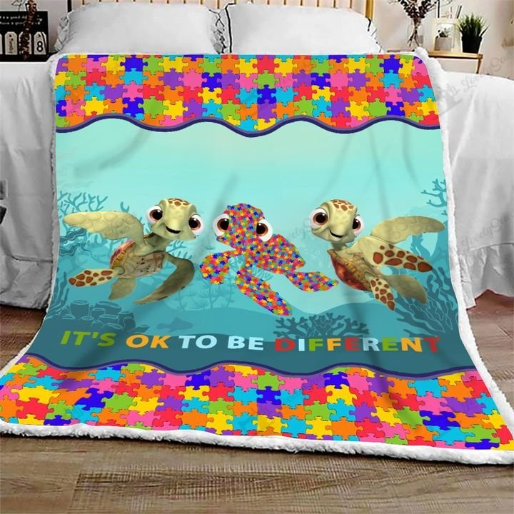 Autism awareness turtle it's ok to be different full printing blanket 1