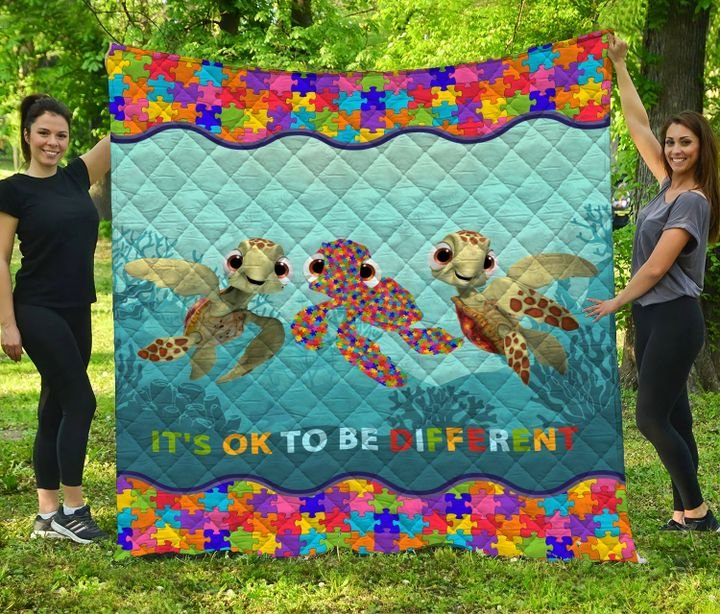 Autism awareness turtle it's ok to be different quilt 4