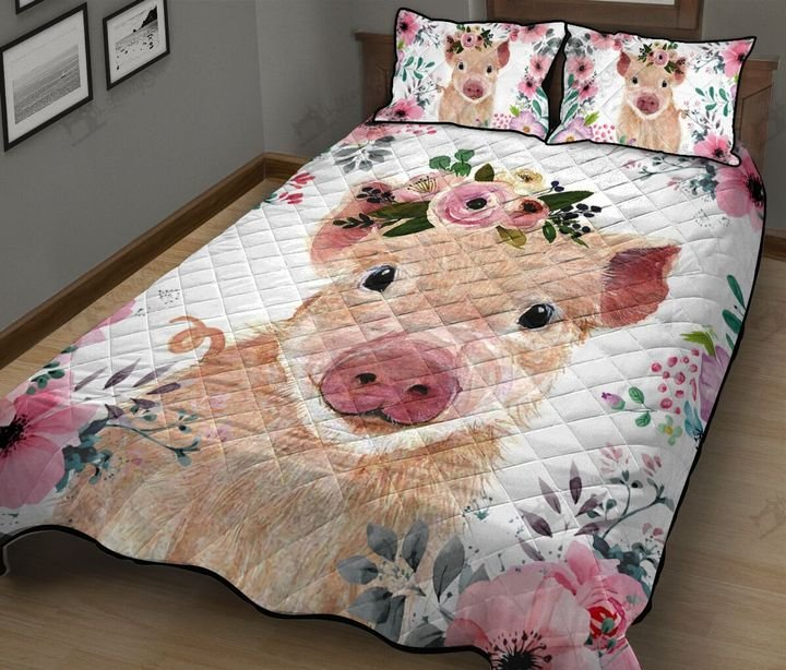 Baby pig floral quilt 2