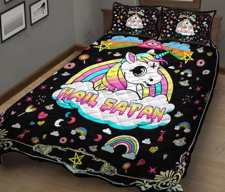 Baby unicorn hail satan full printing quilt 4